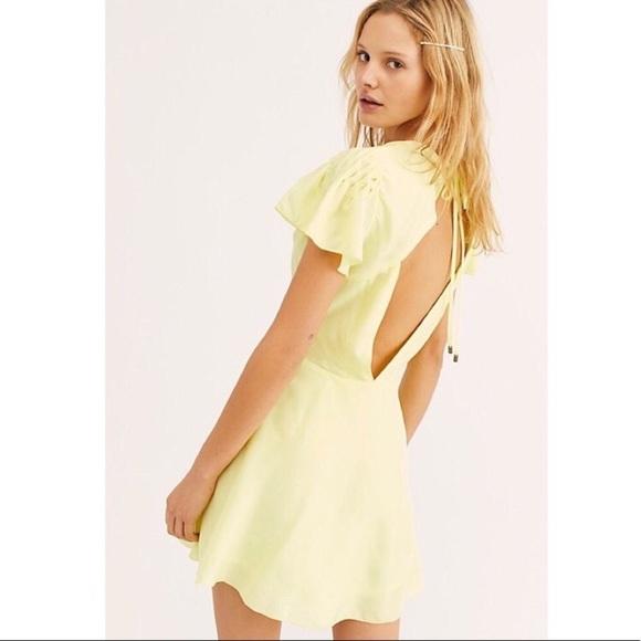 Free People Dresses & Skirts - Free People Follow Along Yellow Silk Mini Dress